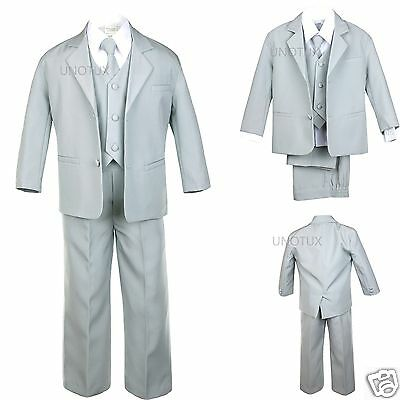 5pc Infant Toddler Kid Teen Formal Party Recital Tuxedo Boy Suit Gray sz S-20