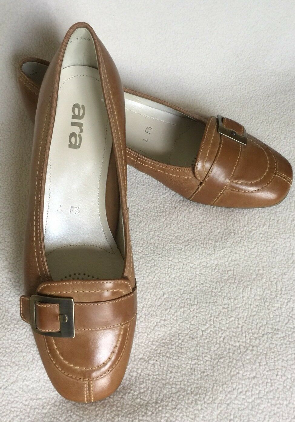 New ARA Butterscotch Tan Leather shoes Buckle sz 4  F 1 2 (UK)