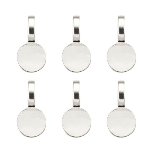20pcs Antique Silver Flat Round Tibetan Alloy Glue-on Flat Pendant Bails 18x10mm
