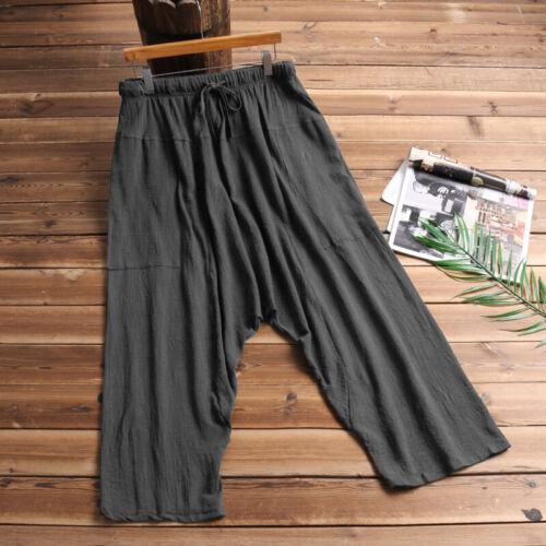 US Men Casual Cotton Linen Harem Pant Hippy Loose Baggy Long Beach Yoga Trouser