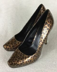 69bb34f11b16 Aldo Women s Patent Leather High Heel Pumps Leopard Print Shoes Size ...
