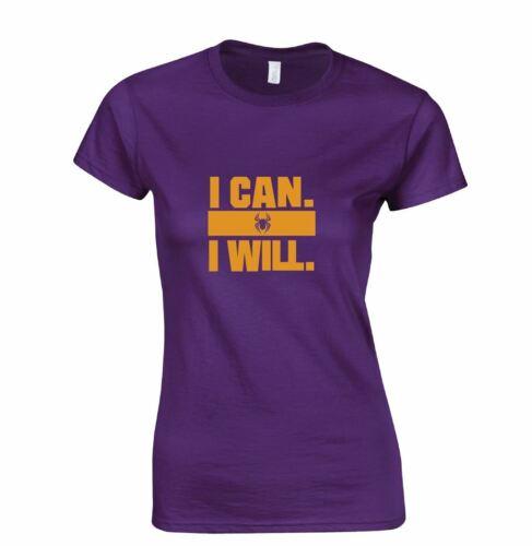Je peux je vais Haut Drôle Femmes Femmes Motivational tshirt tee Cadeau Gym Train