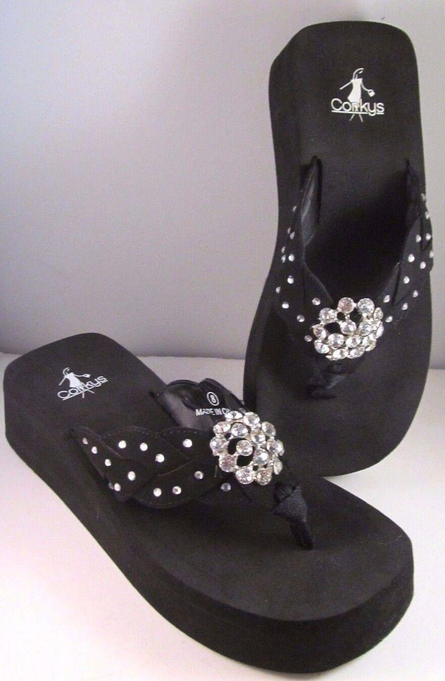 Corkey'S noir SOFT Pied Lit Embelli clair cristaux Sandales chaussures Taille 9 NEUF