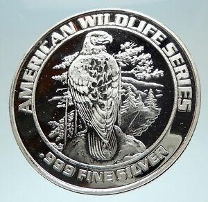 1993-FOXWOODS-Casino-Wildlife-Series-Silver-Bingo-Medal-like-Coin-EAGLE-i76555