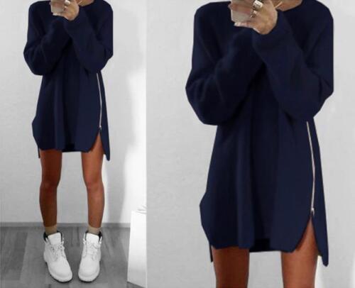Damen Sweatshirt Pullover Tunika Pulli Bluse Oberteil Shirt Hemd Kleid Winter GS