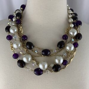 Vintage-Multi-Strand-Faux-Pearl-Faceted-Bead-Chain-Necklace-Gold-Tone-Purple-Red