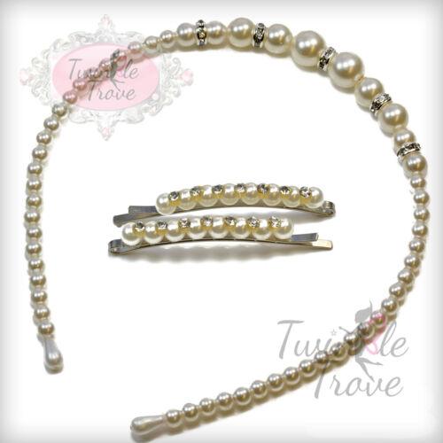 Crystal Studded Faux Pearl Hairband Headband Hair Clips; Wedding Bridal Prom.