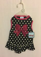 Simply Wag Dog DRESS Black & White Polka Dots and Pink Bow & Trim Size Small