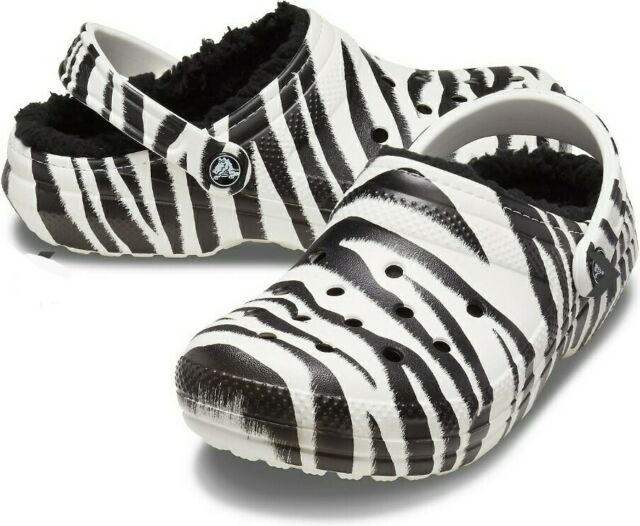 Crocs Classic Lined Clog in Animal Print White Zebra Print Size 9