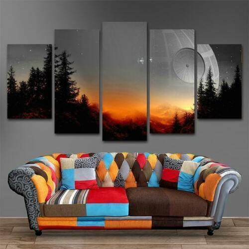 Framed Star Wars Death Star Sunset Five Piece Canvas Multi Panel Home Decor Art