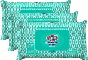 CLOROX Wipes Disinfecting Bleach Free, 75 count, PACK OF 3 (225 wipes total) EPA