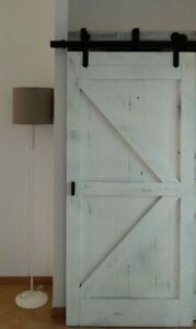 Dettagli su Porta scorrevole in legno massello shabby bianca 220x110  ESCLUSA ferramenta