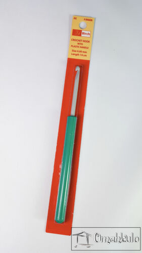 BIRCH Crochet Hook 4.00mm x 14cm in Length with Green Plastic Handle