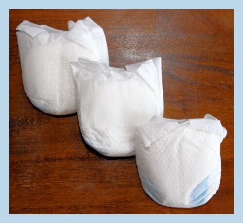 Lot of 3 Micro Preemie Baby Ultra Preemie Diapers Under 2 lbs Reborn Doll