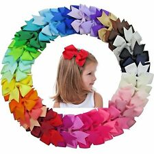 40 Pcs BIG Baby Girls Kids Grosgrain Ribbon Boutique Hair Bows Alligator Clips