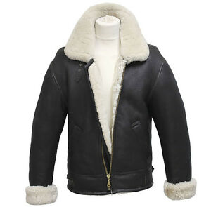 Mens-Aviator-B3-Cream-Real-Shearling-Sheepskin-Leather-Bomber-Flying-Jacket
