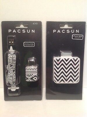 Pacsun Brand iphone 4/4S portable battery charger with Wall Adapter & Cord B/W