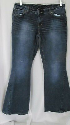 Women's Clothing Bisou Bisou Women's 12 Flared Bell Bottom Dark Wash Stretch Retro Jeans Lot#30 Pure And Mild Flavor Skirts