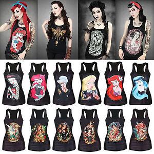 Women-039-s-Tank-Tops-Tattoo-Print-Gothic-Punk-Ariel-Mermaid-Vest-Sleeveless-T-Shirt