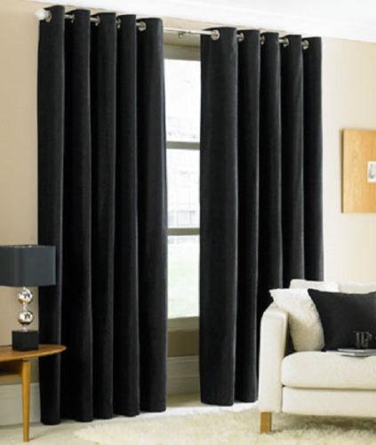 2PC BLACK SOLID GROMMET FOAM LINED BLACKOUT LIGHT PRIVACY WINDOW CURTAIN