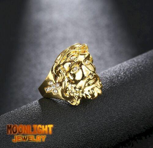 New Jesus Christ Face Crystal Cross Gold Hip Hop Gothic Biker Ring