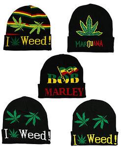 1e14c00687a RASTA Bob Marley I Love Weed Stripe Marijuana Turn Up Pull On Beanie ...