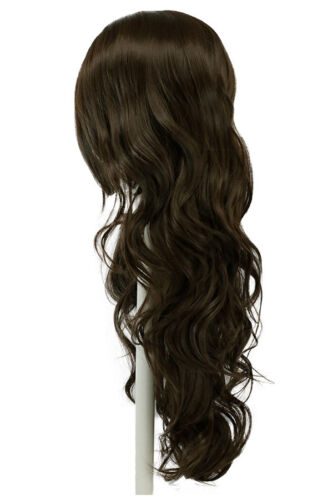 24/'/' Wavy Layered Cut with no Bangs Chocolate Brown Cosplay Wig NEW