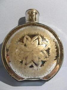 "Antique Mercury Glass Etched Poinsetta 8.25"" Decanter Vessel Christmas Vintage"