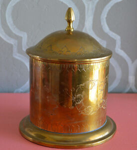 Vintage-Etched-Round-Brass-Container-Jar-w-Lid-Made-in-India