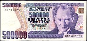 1993-TURKEY-500000-LIRA-BANKNOTE-B31-541829-aVF-P-208a