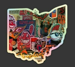 Vinyl HOLOGRAPHIC STICKER - Cleveland all in one Browns Indians Cavaliers