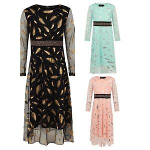 Girls Maxi Dress Kids Sequins  Long Sleeve Holiday Abaya Islamic Top Eid Party