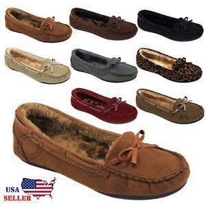 New-Moccasins-Women-Slip-On-Indoor-Outdoor-Shoe-Slipper-Fur-Loafer-5-10-Size