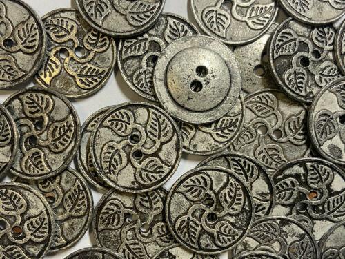 RARE Vintage Cast Metal Button w//Leaf Pattern Dk Antique Silver 15mm 25mm 2hole