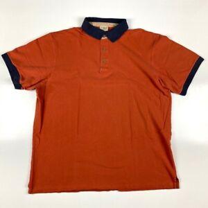 L-L-Bean-Mens-Polo-Shirt-Rust-Orange-Blue-Cotton-Short-Sleeve-Peru-XXL-Tall