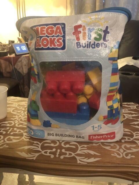 First Builders Building Bag Big 80 Piece Mega Bloks Classic Blocks Toy Set