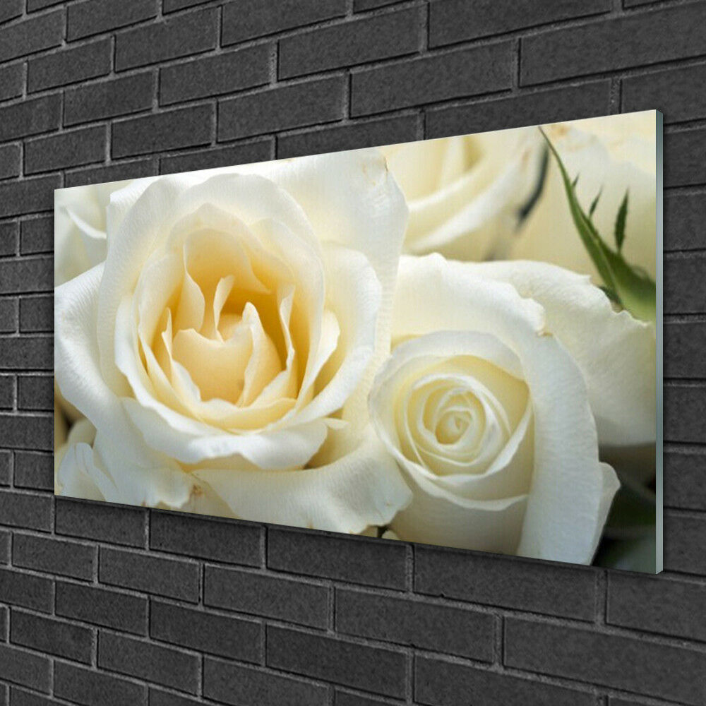 Print on Glass Wall art 100x50 Picture Image Roses Floral