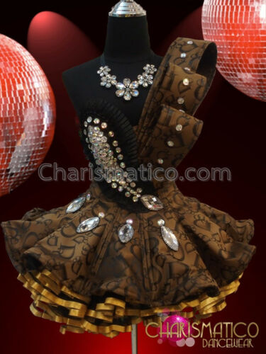 Diva/'s Asymmetrical Ornate Crystal Accented Golden Brown Ruffled Dollie Dress
