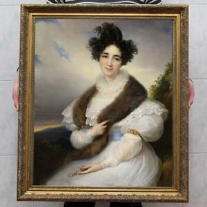 Hand-Painted-Old-Master-Art-Antique-Oil-Painting-Portrait-girl-on-canvas-30-034-x40-034