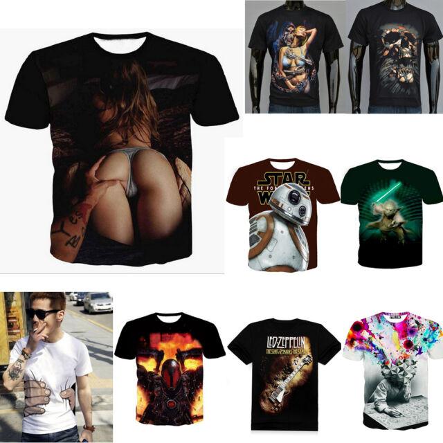 Summer New Popular Mens Short Sleeve Casual 3D Shirt T-Shirt Top Tee Blouse Sexy