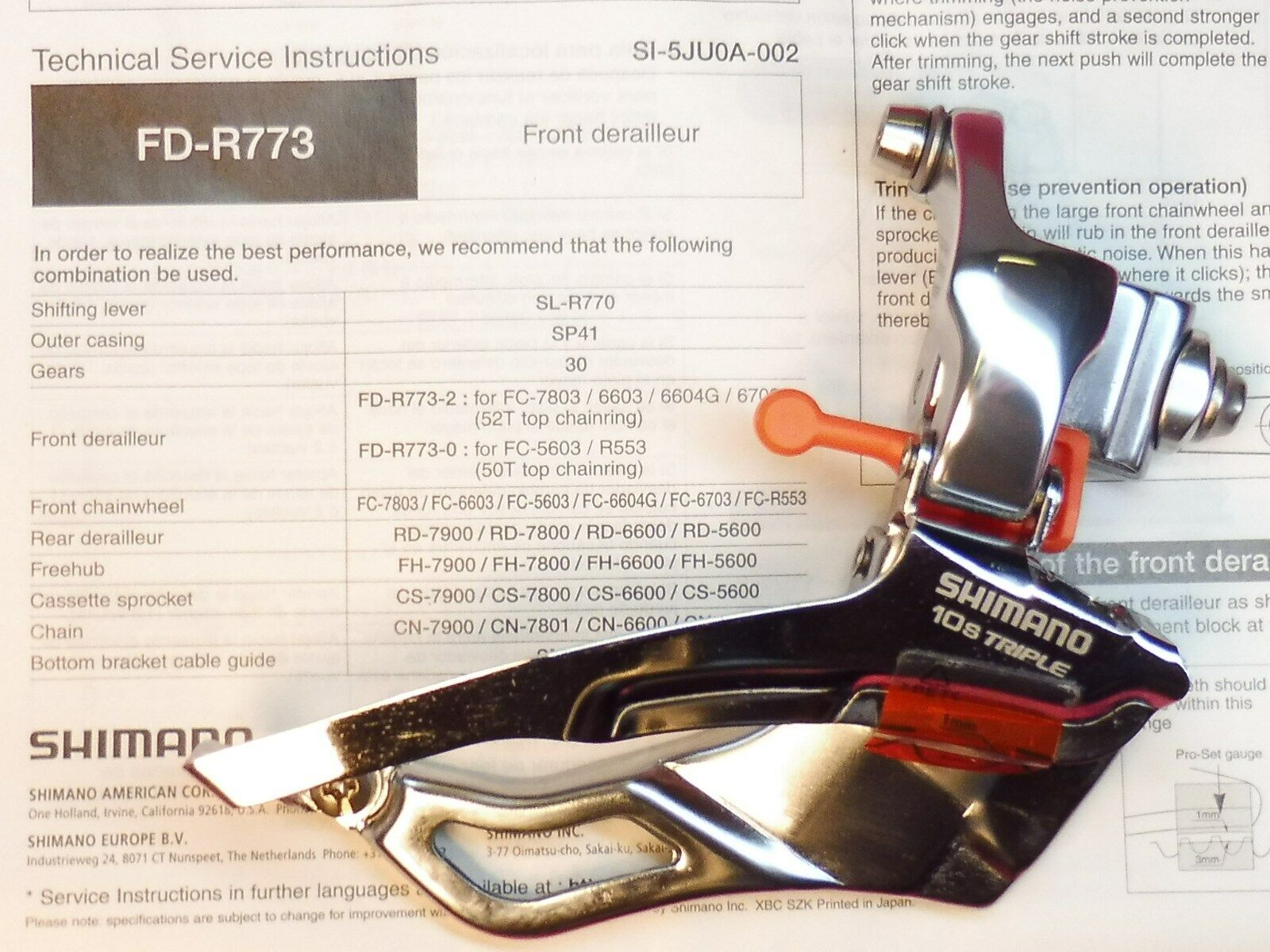Shimano FD R773-0 (FB 10 X 3 50 T) Desviador  Delantero-soldar-en nos  ¡no ser extrañado!