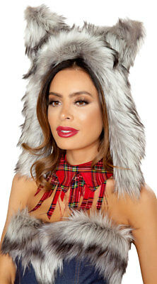 Roma Big Bad Wolf Faux Fur Hood Costume Accessory 4832