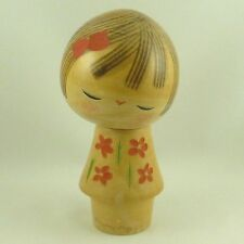 "Vintage Japanese Sosaku Kokeshi Wood Doll Girl Tilt Head Carved Flowers 6"" Tall"