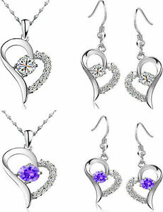WHITE-GOLD-PLATED-HEART-AUSTRIAN-CRYSTAL-KPW2-JEWELLERY-SET-CLEAR-OR-PURPLE