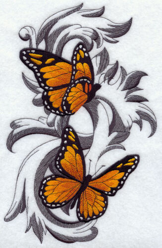 MONARCH BUTTERFLIES IN FLIGHT SET OF 2 BATH HAND TOWELS EMBROIDERED BY LAURA