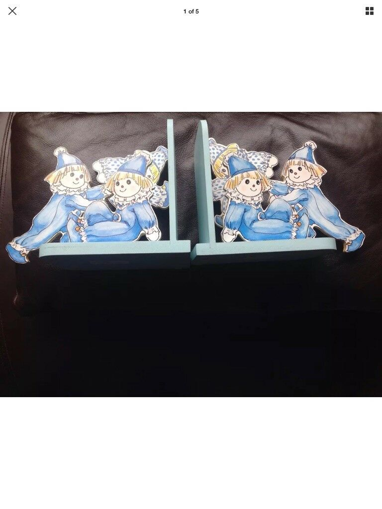 Rare Doll Clown Bookends By The Celia Doll Co. New As Never Used