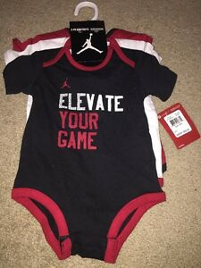 92807abdb NEW AIR JORDAN 23 BABY BOY 3 PIECE BODYSUITS SET 6/9M BLACK RED ...