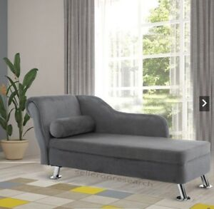 Details about Grey Plush Chaise Longue Modern Single Sofa Living Room Bed  Settee Funriture New