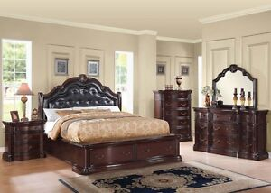 Four Pcs Traditional Formal Veradisia Cherry Cal King Size Bedroom Set Furniture