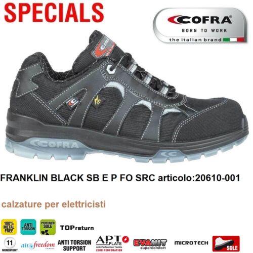SCARPE ANTINFORTUNISTICA COFRA FRANKLIN BLACK SB E P FO SRC per elettricisti